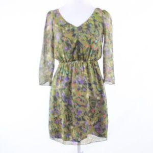 J.Crew green silk 3/4 sleeve tunic dress 0